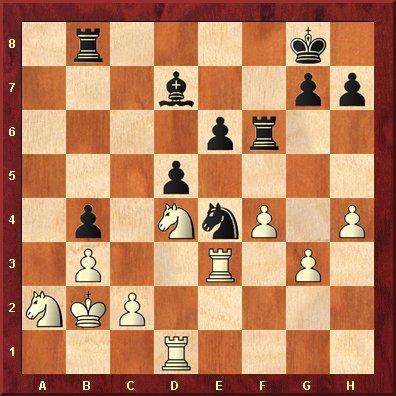 Bent Larsen - Evgeny Bareev, Hastings 1990 - 1r4k1/3b2pp/4pr2/3p4/1p1NnP1P/1P2R1P1/NKP5/3R4 w - - 0 29