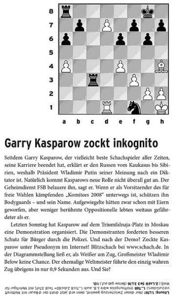 Zocken auf www.schach.de nach der Polit-Demo: Putin-Gegner und Ex-Schach-WM Garry Kasparow (