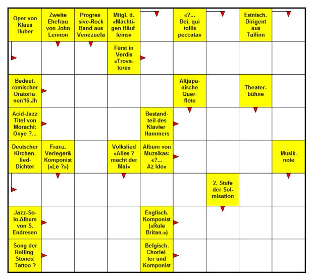 Das neue Musik-Kreuzworträtsel (Januar 2017)