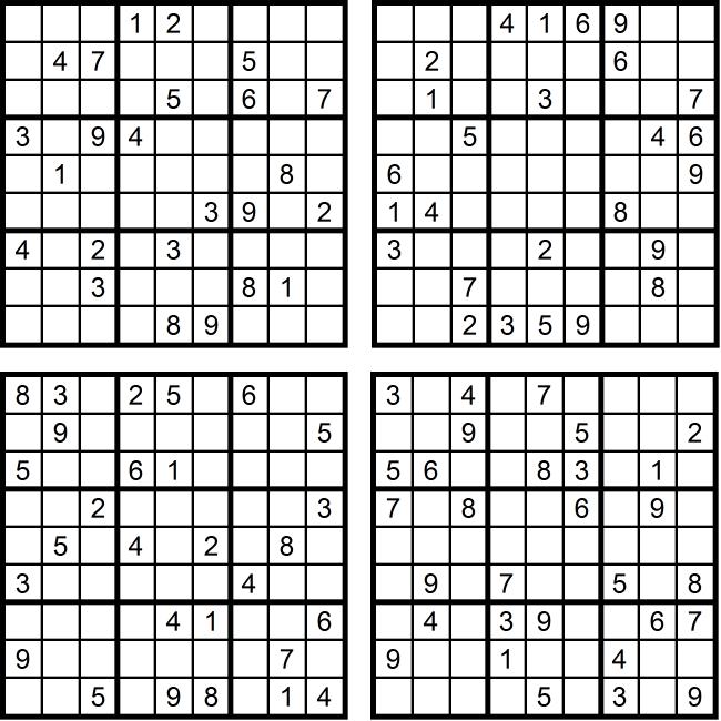Sudoku-Quartett-Rätsel-Aufgaben - März 2017 Glarean Magazin