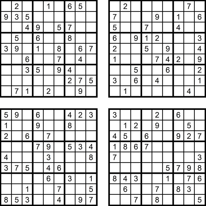 Vier sehr leichte Sudoku-Rätsel (Juni 2017)