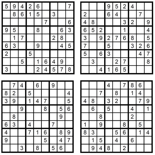 Vier sehr einfach Sudoku-Zahlen-Rätsel zum Ausdrucken (Juli 2017) Copyright 2017 by Walter Eigenmann (Glarean Magazin)