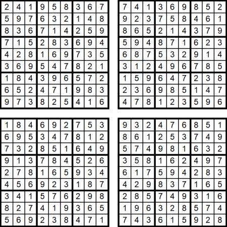 Vier Sudoku-Puzzles im August 2017: Die Lösungen