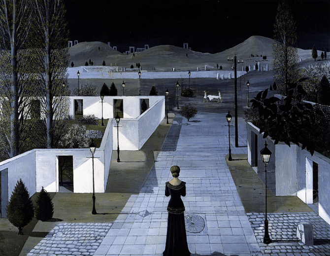 Paul Delvaux - Landschaft mit Laternen - Ölbild 1956 - Glarean Magazin