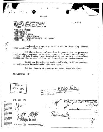 FBI-Akte über Philip K. Dick aus dem Jahre 1972