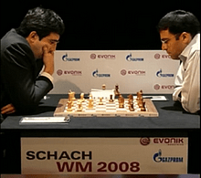 """Der letzte WM-Kampf Kramniks 2008 gegen Viswanathan Anand (""""Der Tiger von Madras""""), den der Russe gegen den Inder verlor"""