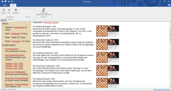 Chessbase Fritz-Trainer Vol. 10 - Mikhail Botvinnik - Screenshot - Glarean Magazin