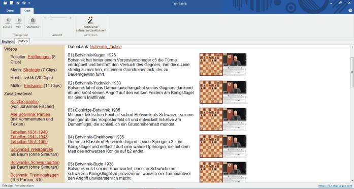 Chessbase Fritz-Trainer Vol. 10 - Mikhail Botvinnik - Screenshot - Glarean Magazin