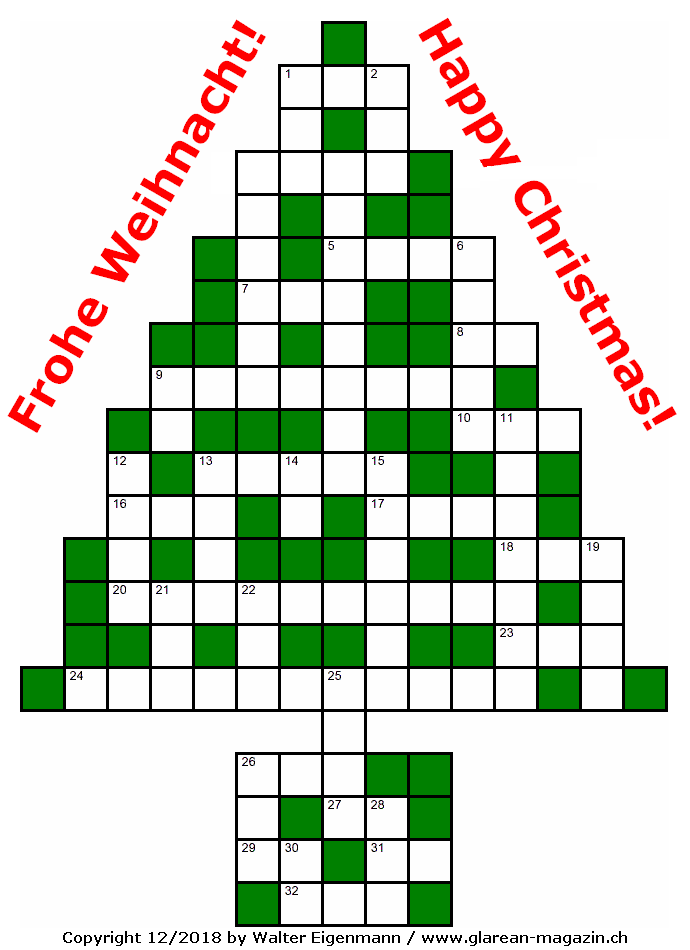 Musik-Weihnachtsrätsel - Music Crossword Puzzle - Glarean Magazin 2018