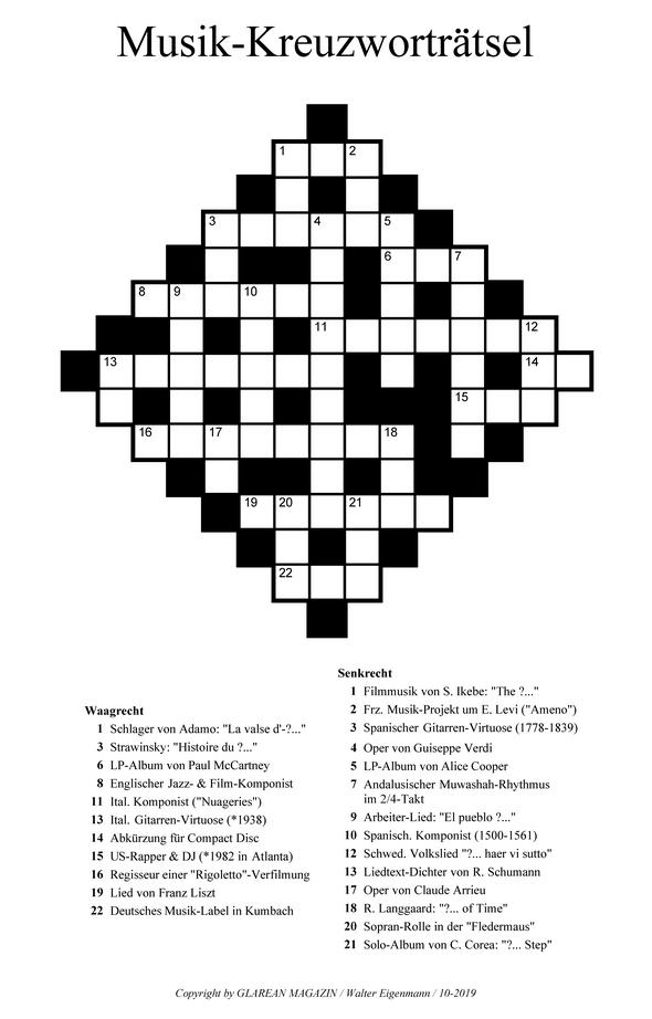 Musik-Kreuzworträtsel - Oktober 2019 - Music Crossword Puzzle - Aufgaben -Glarean Magazin