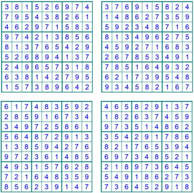 Neue leichte Sudoku 1-4 - Oktober 2019 - Lösungen - Glarean Magazin