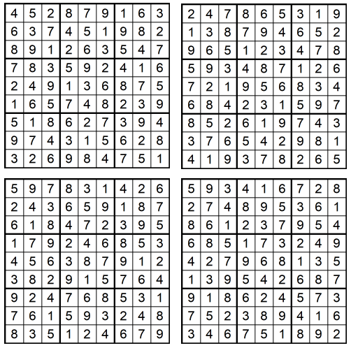 Neue leichte Sudoku 1-4 Januar 2020 - Lösungen - GLAREAN MAGAZIN
