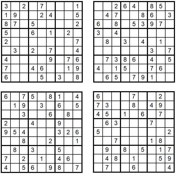 Vier neue leichte Sudoku 1-4 März 2020 - Zahlen-Puzzle-Quartett - Aufgaben Glarean Magazin