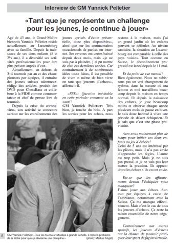 Interview in der Schweizerischen Schachzeitung 3-2020 mit dem Schweizer Grossmeister Yannick Pelletier - auf französisch