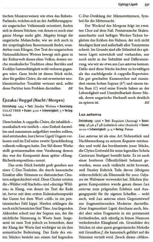 Handbuch der Chormusik - Bernd Stegmann - 800 Werke aus sechs Jahrhunderten - Bernd Stegmann - Beispiel-Seite - Rezension Glarean Magazin