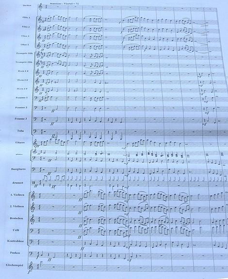 Erste Partitur-Seite der Kantate «Rosen, wild wie rote Flammen» nach Heines «Harzreise» von Frieder W. Bergner