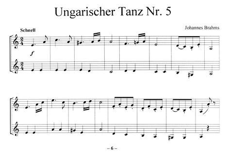 Leseprobe 2: Ungarischer Tanz Nr. 5 (Brahms) - Klassik-Hits für Panflöte (Classics for Pan)