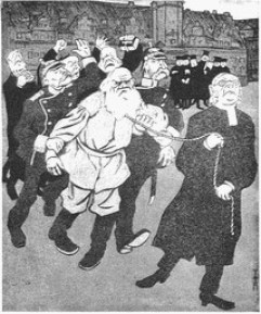 Tolstoj in Leipzig (Karikatur: Tolstoj wird wegen seiner