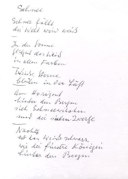 """Mein handschriftliches Gedicht """"Schnee"""" - Wer bin ich? (50-Euro-Preisrätsel im Glarean Magazin)"""