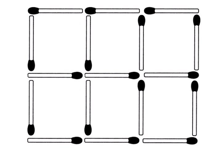 Fünf Streichhölzer sollen so entfernt werden, dass drei Quadrate übrigbleiben