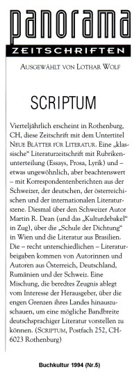 """SCRIPTUM-Rezension in der Zeitschrift """"Panorama"""""""