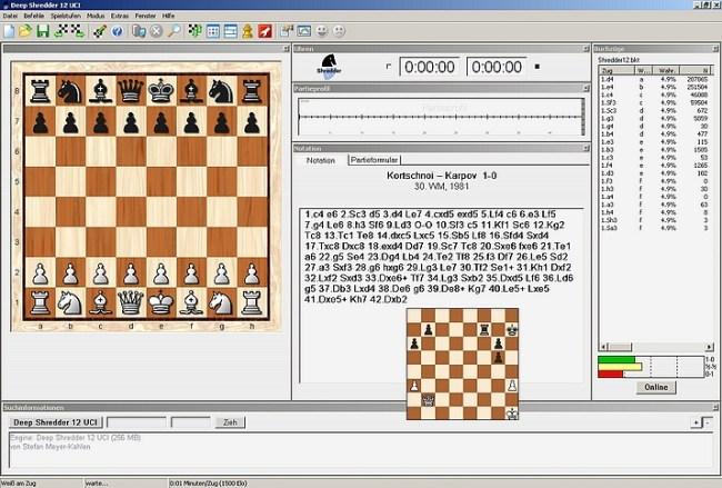 Seit Jahren im Computerschach ein Vorbild für Stabilität und klassisches Outfit: Das betont aufgeräumte, schlicht konzipierte Shredder-Interface in seiner 12. Version