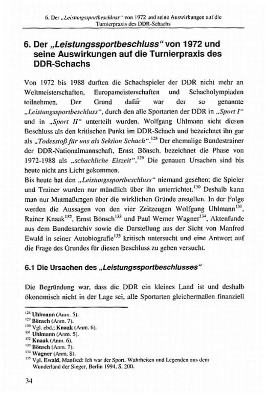 Leseprobe 2 aus: Manfred Friedel - Sport und Politik in der DDR am Beispiel des Schachsports (Leistungssportbeschluss von 1972)