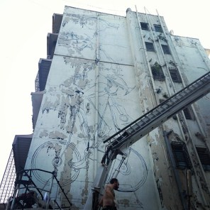 """Dome - """"coming home"""" WIP 22,5 m x 5 m Acrylics and spraypaint on wall   India/Mumbai"""