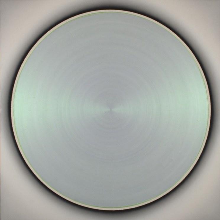 Robert Schaberl, ZF light green dance with copper on soft silver grey, 2012, Acryl auf Leinwand, 160 x 160 cm
