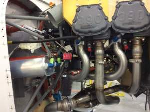 The Lycoming IO-390 engine. Scott intends to fly his Sportsman with amphib floats; ts 210 hp makes it feasible.