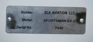 The data plate for Scott Alperins Sportsman. When it comes time to register the airplane Scott as SLA Aviation LLC will be the manufacturer of record, not Glasair Aviation.