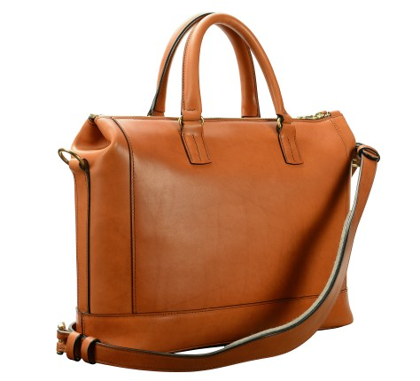 Hand-burnished,-chestnut-Club-Bag-with-tangerine-orange-lining;-16-x-10-x-4'-back