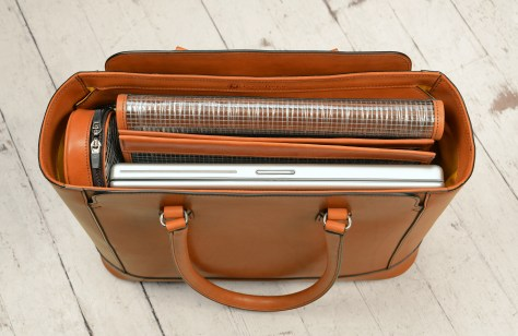 Hand-burnished,-chestnut-City-Tote-with-cadmium-yellow-grosgrain-lining;-16-x-12-x-6'-topdown2