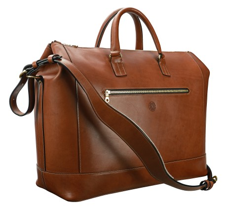 Hand-burnished,-espresso-Club-Bag-with-turquoise-blue-and-crimson-red-lining;-19-x-13-x-8'