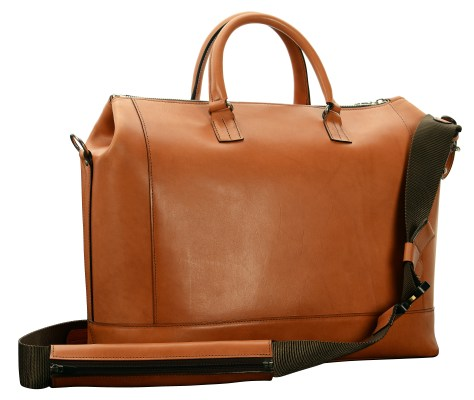 Hand-burnished,-chestnut-Club-Bag-with-water-cress-green-grosgrain-lining-and-cross-body-strap;-17-x-12-x-8'-back