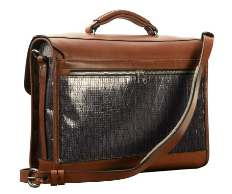 Hand-burnished,-espresso-Headhunter-Flaptop-Bag-with-black-sailcloth;-16-x-12-x-4'-back
