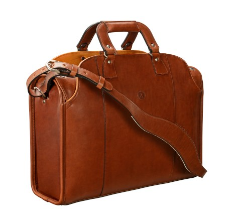 Hand-burnished,-hand-colored,-espresso-Deal-Bag-with-hand-grained-natural-trim;-18-x-12-x-6''