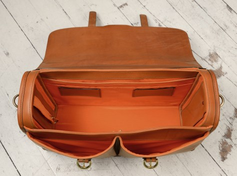 Hand-burnished,-chestnut-Flapover-Bag-with-tangerine-orange-grosgrain-lining;-17-x-12-x-5'-topdown2
