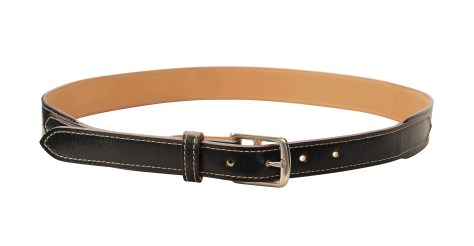 Hand-grained,-hand-colored-olive-black-Belt-with-natural-leather-lining