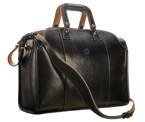 Hand-grained,-hand-colored-olive-black-Litigation-Deal-Bag-with-hand-grained-natural-trim;-19-x-13-x-8'