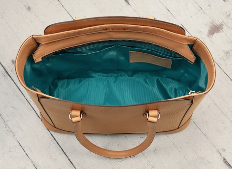 Hand-grained,-natural-City-Tote-with-turquoise-lining;-16-x-12-x-6'-topdown3