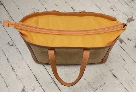 Hand-grained-natural-leather-Foldflat-Tote-with-sailcloth-topdown2