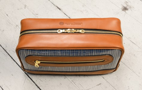 Hand-burnished-chestnut-Teal-Travel-Kit-with-sailcloth-topdown1