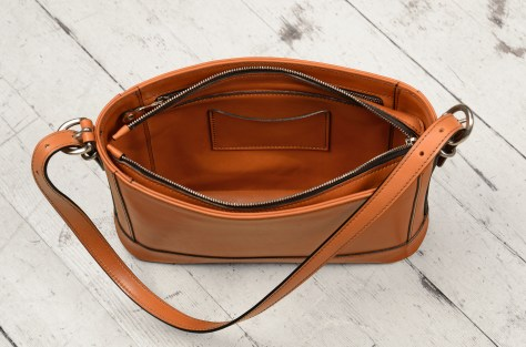 Hand-burnished-all-leather-chestnut-Hand-Bag-with-short-shoulder-strap;-12-x-8-x-3'-topdown3