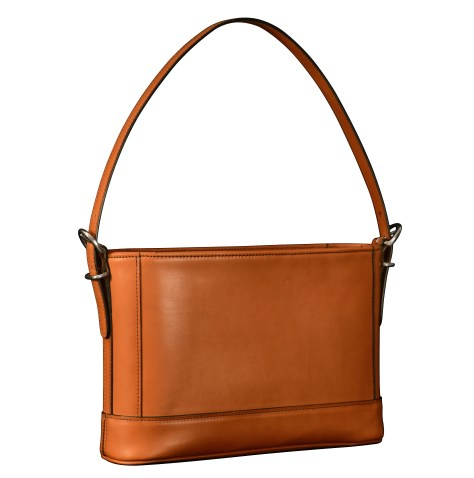 Hand-burnished-all-leather-chestnut-Hand-Bag-with-short-shoulder-strap;-12-x-8-x-3'