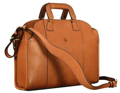 Hand-burnished-chestnut-Deal-Bag-with-turquoise-lining;-18-x-12-x-5'