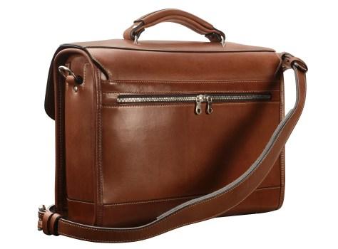 Hand-burnished,-espresso-Headhunter-Flaptop-Bag;-15-x-11-x-4'-back