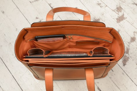 Hand-burnished-chestnut-City-Tote-with-long-flat-handles-and-tangerine-grosgrain-lining;-16-x-12-x-7'-topdown3