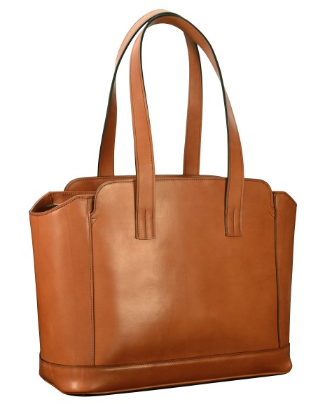 Hand-burnished-chestnut-City-Tote-with-long-flat-handles-and-tangerine-grosgrain-lining;-16-x-12-x-7'