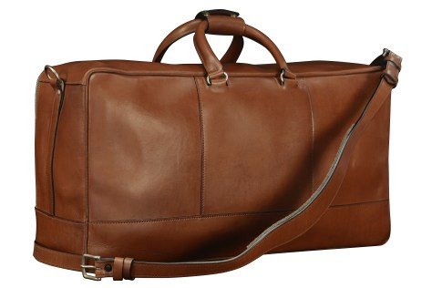 Hand-burnished-espresso-Square-Duffel-with-open-front-pocket-and-tangerine-lining;-22-x-12-x-8'-back